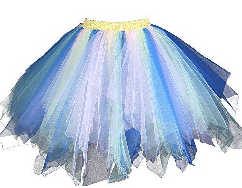 MsJune Women's 1950s Vintage Petticoats Crinolines Bubble Tutu Dance Half Slip Skirt Blue & -