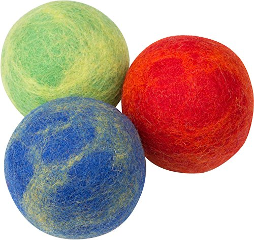 Pet Pizazz 3-Pack 100% Wool Dog Balls (Indoor or Outdoor Toy, Boutique Quality, All-Natural)