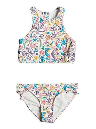 Roxy Big Girls' California Diary Crop Top Swimsuit Set, Marshmallow Flower Power, 16