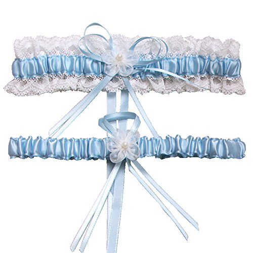 Toss Wedding Garter Set - Rimobul Lace Wedding Garters with Toss Away - Set of 2 (Light Blue)
