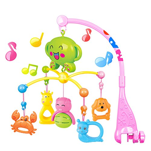 COLOOM Baby Musical Crib Mobiles Toys Infant Rattles Baby Bed Bell Toys with Hanging Rotating Cute Colorful Animals, 20 Melodies (Pink) by COLOOM