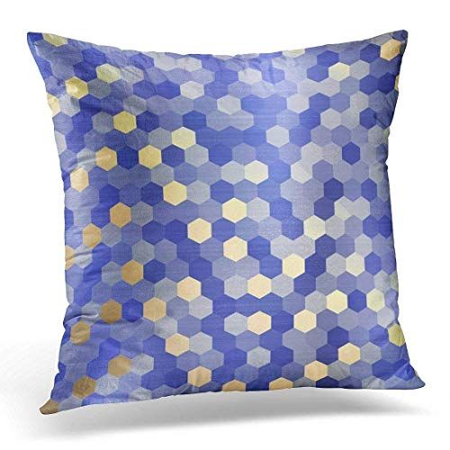 ZninesOnhOLD Throw Pillow Covers, Throw Pillow Cover Computer Yellow Gold Cobalt Sapphire Blue Hexagon Mustard Decorative Pillow Case Home Decor Square 18 X 18 inches Pillowcase