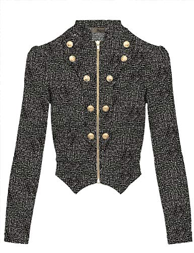 Women's Military Crop Stretch Gold Zip up Blazer Jacket KJK1125X 10691 Black/IVOR ()
