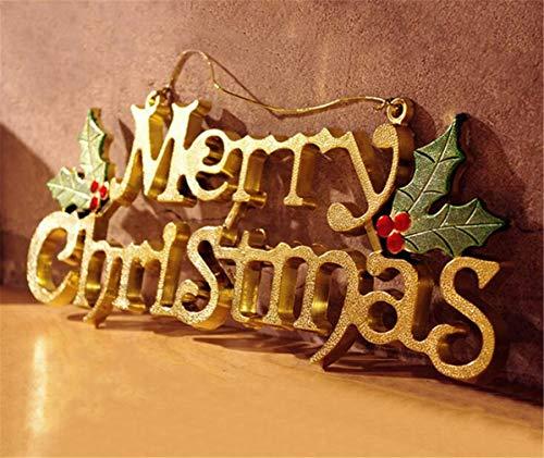 SPP PANDA Christmas Tree Christmas Tree Decoration English Alphabet Letter Pendant Three-Dimensional English Decorative Card Gold 40CM