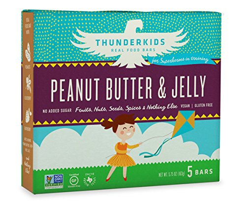 Thunderkids Vegan Snacks – Real Food Energy Bars – Peanut Butter & Jelly – Box of 5 – No Added Sugar, Grain and Gluten Free, Whole 30, Non-GMO