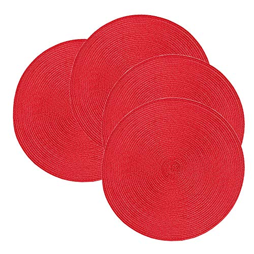 Homcomoda Braided Round Placemats Crossweave Heat Resistant Place Mats for Kitchen Table Set of 4 (red)