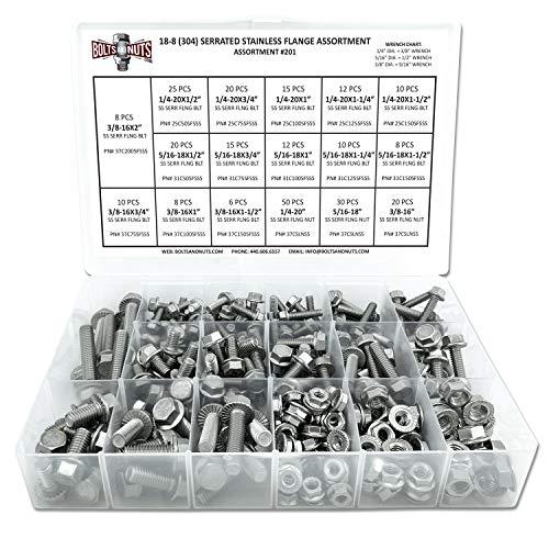 Type 18-8 Stainless Steel Serrated Flange Nut Assortment Kit Marine Bolt Supply 8-110614