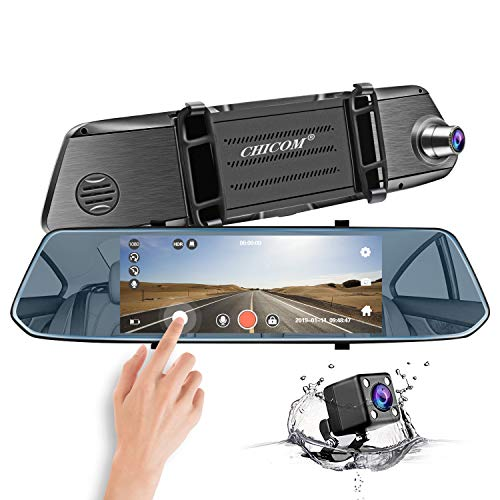 Mirror Dash Cam, CHICOM 7 Inch 1080P Full HD IPS Touch Screen Dashboard Camera Recorder Dual Lens Front Rear View Car Video Recorder with Waterproof Reversing Camera