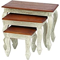 Benzara Wood Nested Table Accent Collection, 24-Inch, 18-Inch and 12-Inch, Set of 3