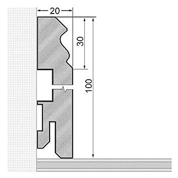 Massivholz Sockelleisten Berliner Profil Wei/ß RAL9010 lackiert 60mm