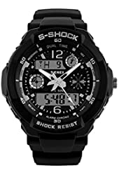 Stylish Climbing Swimming Military Shock Stainless Steel Analog and Digital 30M Diving Sport Watch for Men (Black with Silver)