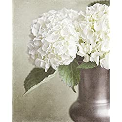 Cottage Chic Photograph of Hydrangeas in Bronze Vase