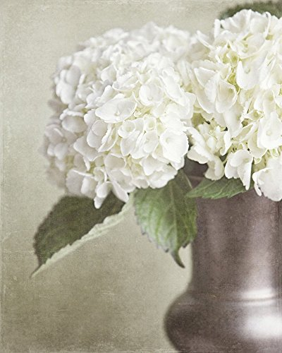Cottage Chic Photograph of Hydrangeas in Bronze Vase - Cottage Garden Wall Vase