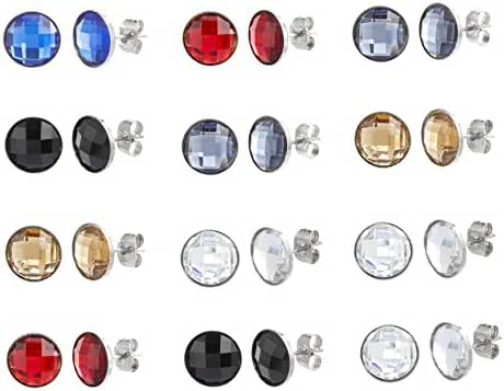 Gold-Tone Silver-Tone Stainless Steel Cubic Zirconi Multi-Colored Faceted Round Bezel Post Earring 12 Pair Set
