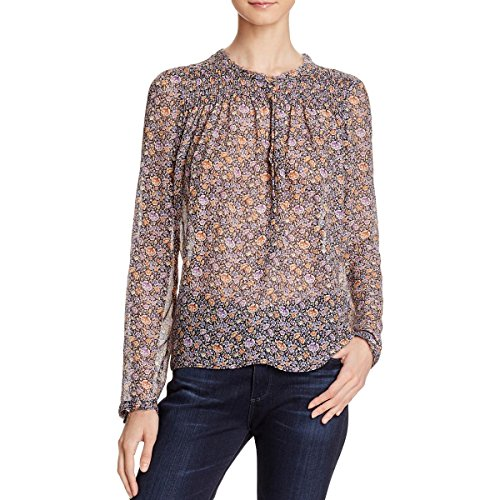 Floral Print Silk Blouse - Rebecca Taylor Womens Silk Floral Print Blouse Purple 0