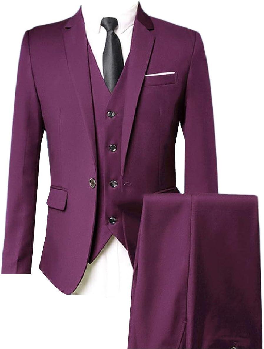 XiaoShop Men Basic One Button Suit Blazer Jacket Tux Vest /& Trousers 3-Piece