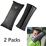 Seatbelt Pillow, Car Seat Belt Covers for Kids,Safety Travel Belt Protector Neck Cushion,Plush Soft Auto Seat Belt Strap Travel Pillow Cover Headrest Neck Support for Children Baby Adult (Grey)