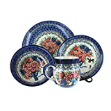Polish Pottery Blush Bouquet 4 Piece Dinner Set