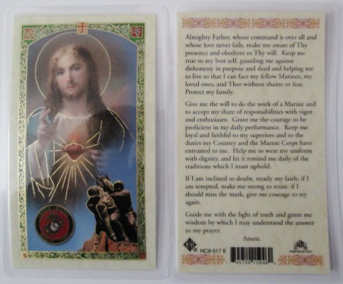 Service Prayer Card - U.S. MARINE CORPS: PRAYER FOR THOSE IN THE MILITARY SERVICE *Laminated 2-Sided Holy Card (3 Cards per Order)