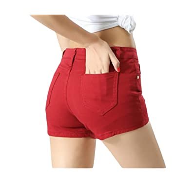 Abetteric Women Short Summer Shorts Skinny Summer Leisure Mulit Color Shorts Jeans Wine Red XS