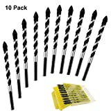 Multipurpose Drill Bits, 10-Piece 6mm Multi-material Drill Bit Set for Drilling in Tile, Glass, Concrete, Brick, Wood, and Plastic, Tungsten Carbide Tipped Masonry Drill Bit Set for Wall Mirror