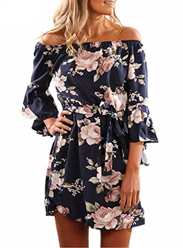 Womens Off Shoulder Strapless Floral Print Trumpet Sleeve Summer Casual Vacation Boho Mini Dress, Navy Blue, X - Large
