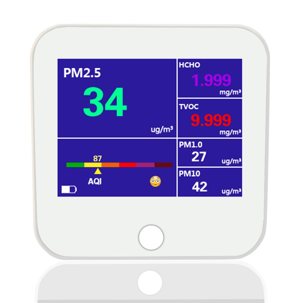 New. Air Quality Monitor - Portable, Rechargeable Lithium Battery with USB Charge Cable. Color LCD Screen PM2.5, PM1.0, PM10, TVOC, Formaldehyde