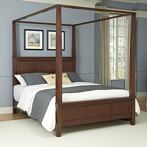 Home Styles Chesapeake Classic Cherry King Canopy Bed with Slightly Flared Legs, Head and Footboard, Raised Panels, and Hardwood Solids