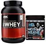 Optimum Nutrition Gold Standard 100% Whey Protein, Vanilla Ice Cream, 5lb, + MGX Insane Pre-Workout Watermelon