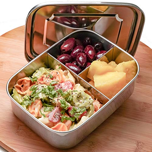 - Stainless Steel Bento Box for Kids + Adults with BONUS Spoon   Metal Bento Lunch Box for Men + Women   Eco Friendly 3 Section Steel Lunch Container   Fits 1 Main + 2 Snacks   Top FDA Standard Steel