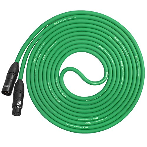 Pro Mic Cable (LyxPro Balanced XLR Cable 15 ft Premium Series Professional Microphone Cable, Powered Speakers and Other Pro Devices Cable, Green)