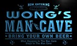 qd1459-b WONG's Man Cave Soccer Football Bar Neon Beer Sign