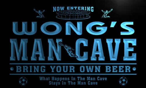qd1459-b WONG's Man Cave Soccer Football Bar Neon Beer Sign by AdvPro Name