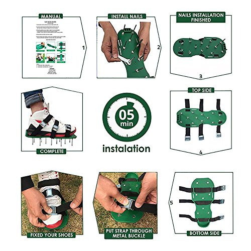 KOBWA Lawn Aerator Shoes, Spikes Aerator Sandals with 4 Adjustable Straps and Strong Zinc Alloy Buckles, Universal Size that Fits all – For a Greener and Healthier Garden or Yard. by KOBWA (Image #6)