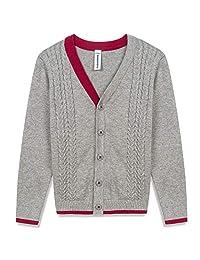 BOBOYOYO Boy's Sweater Long Sleeve V-Neck Cotton Cable Knit Cardigan Sweater
