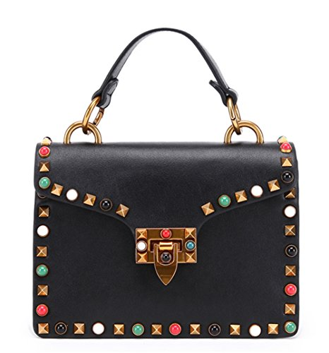 Bolsa para mujer XinMaoYuan Nail-Shoulder Keskin Bolsa Bolso Color puro estilo Horizontal tipo cubierta de laca encapsulado cuadrado pequeño Negro