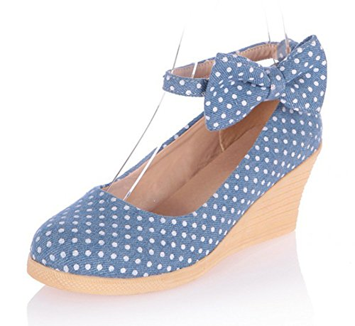 Polka Dot Platform Pump Shoes (Aisun Women's Cute Comfy Polka Dot Denim Round Toe Ankle Wrap Buckle Strap Dress Platform Wedge Mid Heels Pumps Shoes With Bows Light Blue 7 B(M) US)