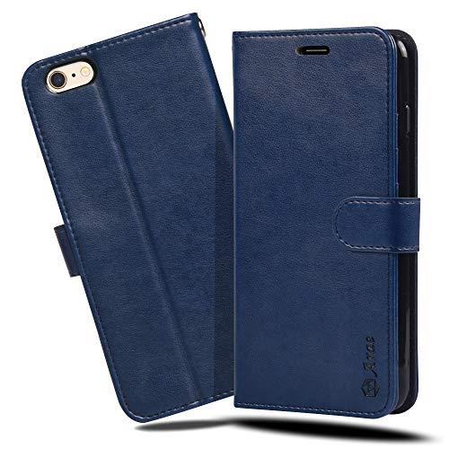 ジョグ慣らす元のiPhone6s Plus ケース 手帳型 iPhone6 Plus ケース Arae スマホケース 横置き機能 カードポケット付き アイフォン6s 6 プラス 対応用 財布型 ケース カバー(ダークブルー)