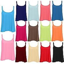 Womens Ladies Cami Strappy Plain Basic Swing Vest T Shirt Top