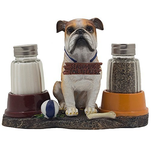 (Decorative Bulldog Puppy Salt and Pepper Shaker Set with Dog Food Bowls on Display Stand Holder Sculpture for Pet Figurine Kitchen Decor Table Centerpieces or Spice Racks As Collectible Gifts for Dog Owners)