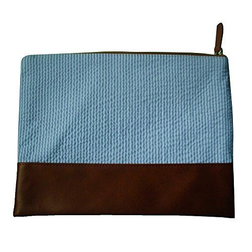 Mright Seersucker and PU Patchwork Zipper Make-up Bags (11.75