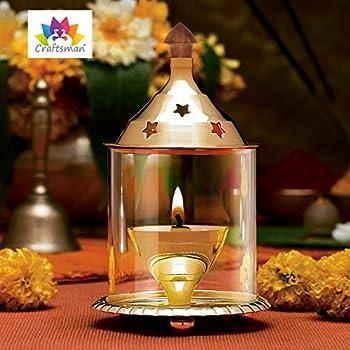 CRAFTSMAN Puja Jyot L/ámpara de Aceite de lat/ón para Diya Aarti//Pooja Dia con Mango