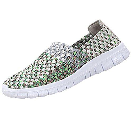 Anguang Mujer Cómodo para Caminar Zapatos Tejido Elástico Entrenadores De Quitaipón Pisos Agua Zapatos Gris