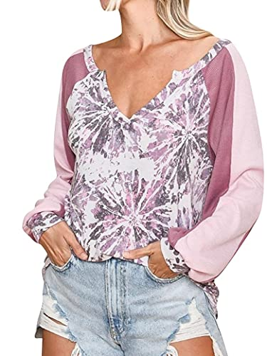 PLNCAYFZ Women Colorblock Graphic Print Tie Dye Shirt V Neck Long Sleeve Blouse Top Pink