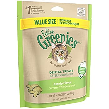 FELINE GREENIES Dental Treats For Cats Catnip Flavor 5.5 oz. With Natural Ingredients Plus Vitamins, Minerals, And Other Nutrients