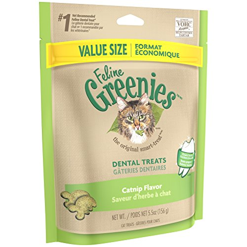 Treat Value Pack (FELINE GREENIES Dental Treats For Cats Catnip Flavor 5.5 oz. With Natural Ingredients Plus Vitamins, Minerals, And Other Nutrients)