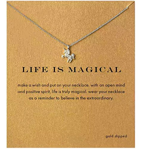 Heyuni. Women Alloy Clavicle Pendant Chain Necklace Jewelry with Card,Sliver by Heyuni.