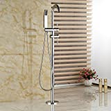 Rozinsanitary Dual Handles Chrome Bathroom Tub Faucet Free Standing Shower Mixer W/ Hand Unit