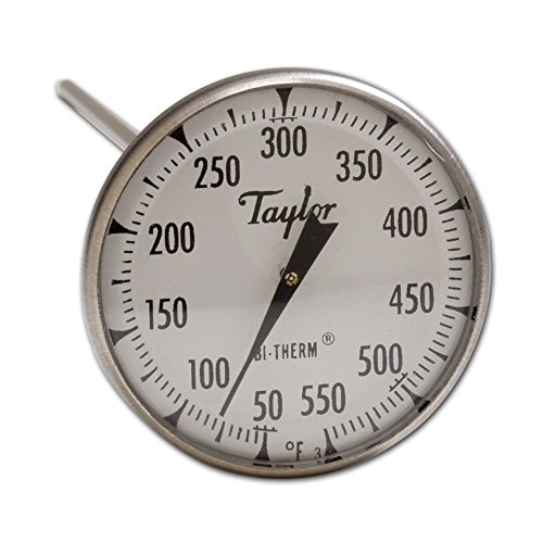 Taylor 6220J Bi-Therm Superior Grade Bi Metal Thermometer, 8'' Stem, 2'' Dial, 0 to 550 Degree F by Taylor Precision Products