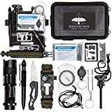 Survival Kit - 12-in-1 Outdoor survival gear for EDC, Camping, Hiking, Bushcraft [tactical pen, military knife, survival bracelet, emergency blanket, tactical flashlight] Everyday Carry